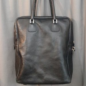 Jil Sander Men's Black Leather Key & Lock Tote Bag